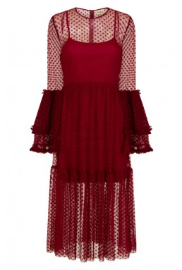 Lace & Beads Raven Burgundy Sheer Dress