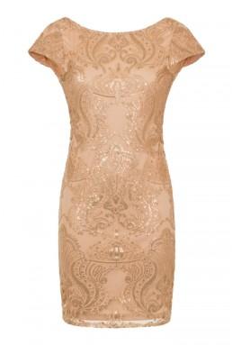TFNC Collet Gold Mini Dress