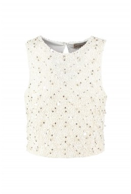 TFNC Picasso Cream Sequin Top
