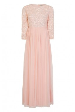 Lace & Beads Picasso Long Sleeved Pink Embellished Maxi Dress