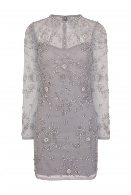 Lace & Beads Brazil Grey Embellished Dress