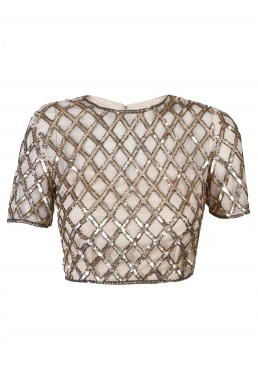 Lace & Beads Carmine Gold Top