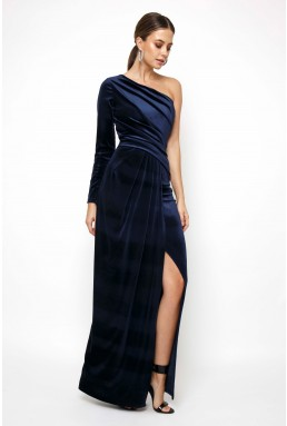 TFNC Laly Velvet Navy Maxi Dress