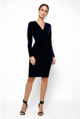 TFNC Tessa Velvet Navy Midi Dress