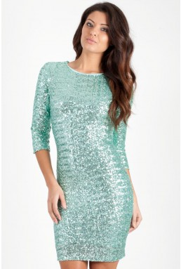 TFNC Paris Mint Sequin Dress