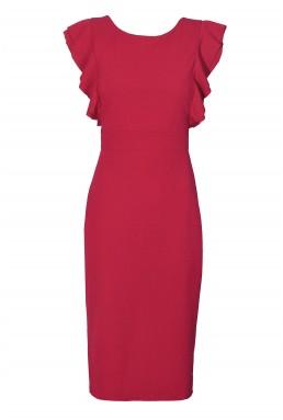 WalG Ruffle Trim Coral Midi Dress