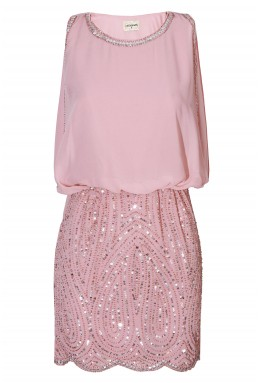 Lace & Beads Sharon Paisley Pink Embellished Dress