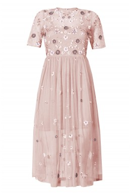 Lace & Beads Baby Pink Sheer Dress