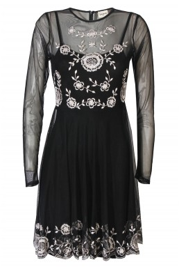 Lace & Beads Amanda Black Sheer Dress