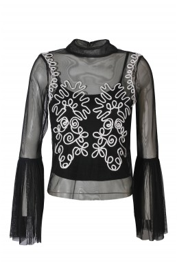 Lace & Beads Dilhara Black Sheer Top
