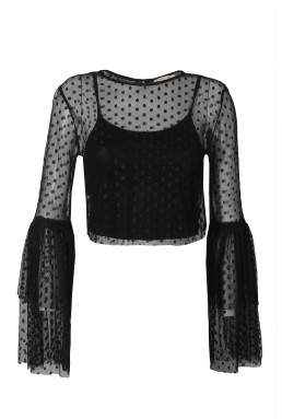 Lace & Beads Loon Black Sheer Crop Top