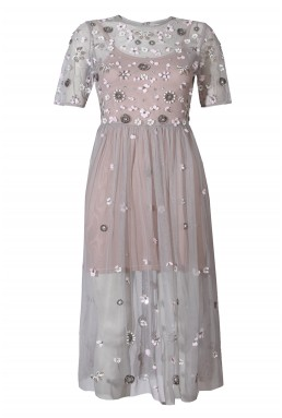 Lace & Beads Baby Grey Sheer Dress