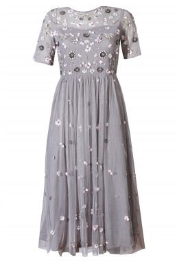 Lace & Beads Baby Grey Dress