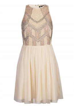 Lace & Beads Peach Nude Dress