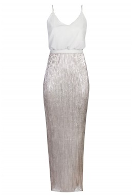 TFNC Annie Metallic Silver Maxi Dress
