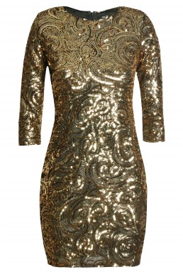 TFNC Paris Gold Sequin Dress