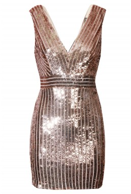 TFNC Olivia Rose Gold Sequin Dress
