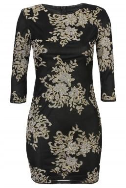 TFNC Paris Flower Black Dress