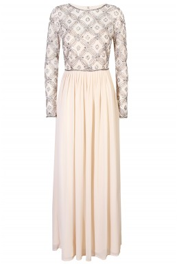 Lace & Beads Carnation Cream Maxi Dress