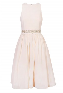 TFNC Ambre Embellished Nude Midi Dress