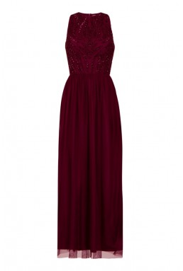 Lace & Beads Marcia Plum Maxi Dress