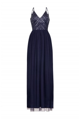 Lace & Beads Maeve Navy Embellished Maxi Dress