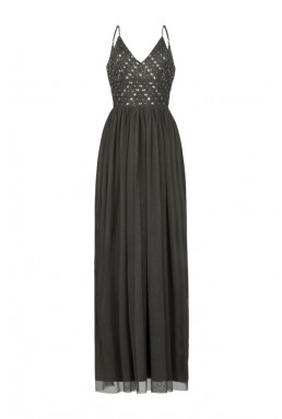 Lace & Beads Maeve Taupe Embellished Maxi Dress