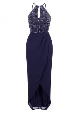 Lace & Beads Basia Navy Wrap Dress
