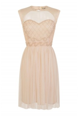 Lace & Beads Cecile Skater Nude Dress