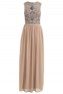 Lace & Beads Paula Taupe Maxi Dress