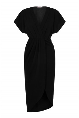 WalG Batwing Wrap Black Midi Dress