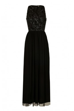 Lace & Beads Maheen Black Embellished Maxi Dress