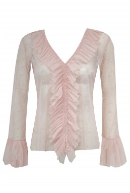 Lace & Beads Pike Mesh Pink Top