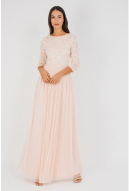 Lace & Beads Picasso 3/4 Sleeved Pink Embellished Maxi Dress
