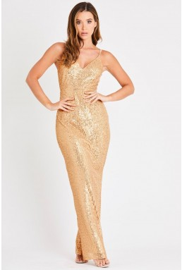 Skirt & Stiletto Valentina Gold Sequin Maxi Dress