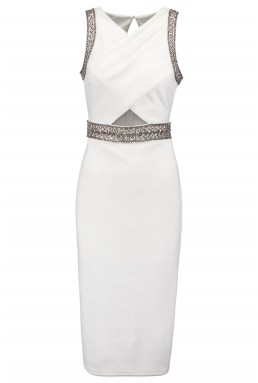 TFNC Yalanna White Embellished Dress