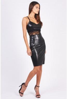 TFNC Monaco PVC Black Midi Skirt