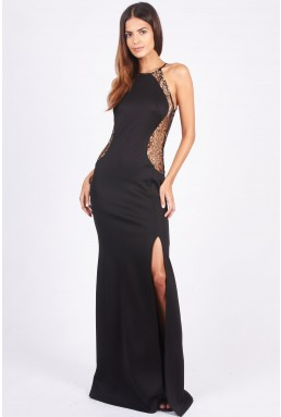 TFNC Sofia Gold Lace Maxi Dress