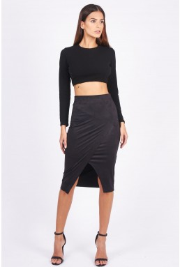TFNC Leena Black Midi Skirt