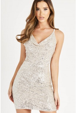 TFNC Vue Silver Sequin Mini Dress