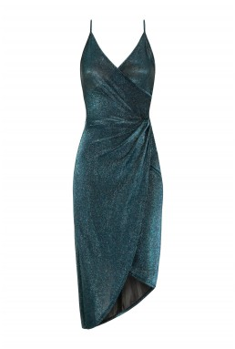 WalG Low Back Glitter Blue Midi Dress