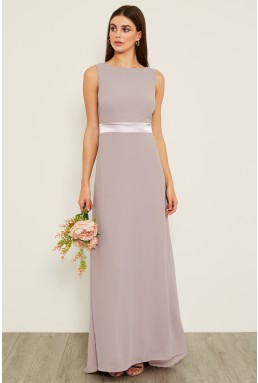 TFNC Halannah Lavender Fog Grey Maxi Dress