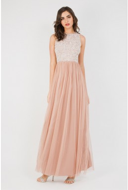 Lace & Beads Picasso Pink Embellished Maxi Dress