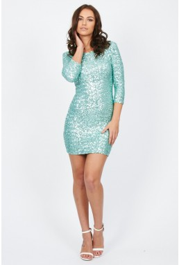 TFNC Paris Mint Sequin Dress