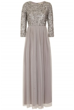 Lace & Beads Picasso Long Sleeved Grey Embellished Maxi Dress