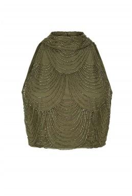 Lace & Beads Opal Khaki Top