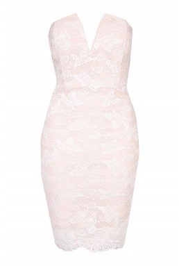 WalG Lace Bandeau Plunge Pink Dress