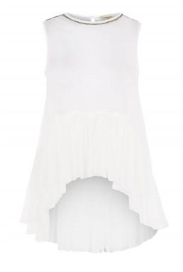 Lace & Beads Flamingo White Sheer Top