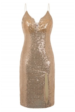WalG Sequin Gold Midi Dress