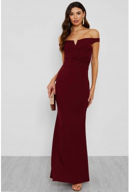 WalG Off Shoulder Burgundy Maxi Dress
